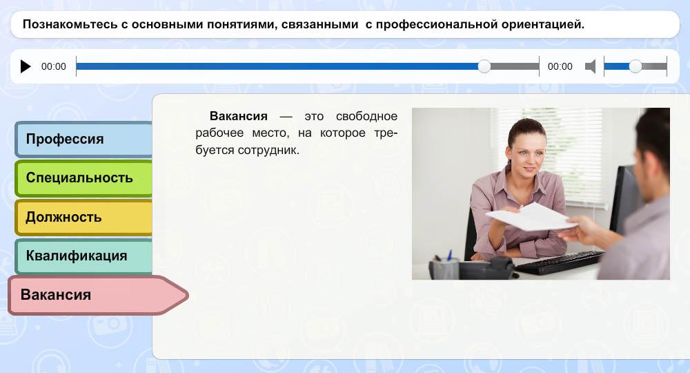 """Понятия """"профессия"""", """"специальность"""", """"квалификация"""", """"должность"""", """"вакансия"""""""